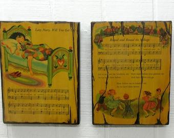 Vintage Folk Art Nursery Rhyme Wood Plaques Set Of Five