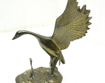 Vintage Brass Flying Goose That Landed In A Lilly Pad Pond