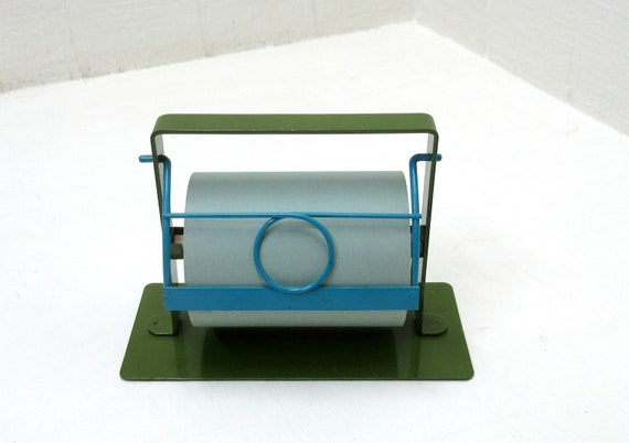 Vintage Office Takahashi Green Metal Desk Note Paper Roll Holder