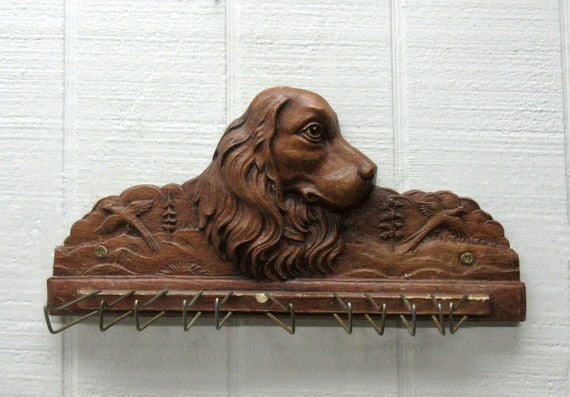 Vintage Syroco Ornamental Wood Spaniel Dog Tie / Belt Rack