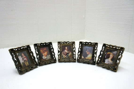 Vintage Mini Picture Frame WH 916 Miniture Free Standing Victorian Pictures Made In Hong Kong Set Of 5