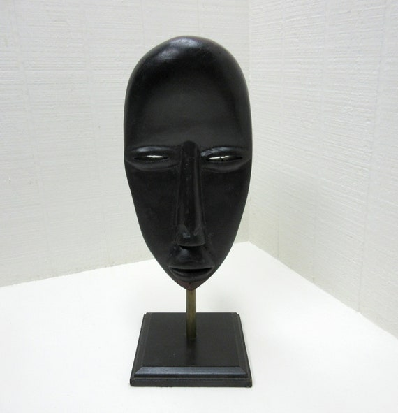 Vintage African Wood Mask Hand Carved On Stand