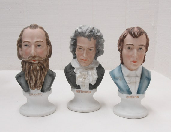 Vintage Lefton China ~ Brahms, Chopin, Mozart ~ Bust Figurines ~ Set Of 3