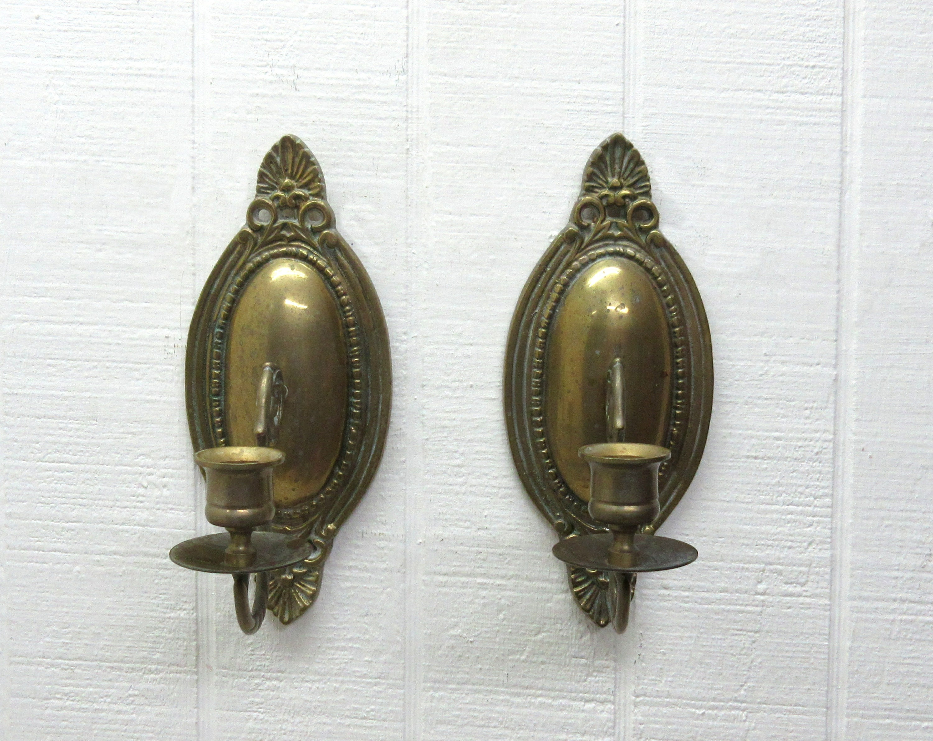 Vintage Brass Wall Sconce Wall Mount Taper Candle Holder