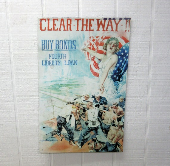Vintage Clear The Way Buy Bonds Fourth Liberty Loan Metal Sign