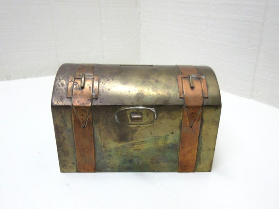 Vintage Brass And Copper Small Steamer Trunk Bank Box With Keys Made In India