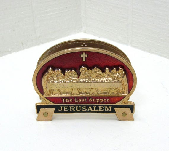 Vintage Business Card Stand Last Supper Business Card Holder