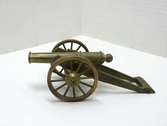 Vintage Brass Cannon With Truck Brass Toy Cannon