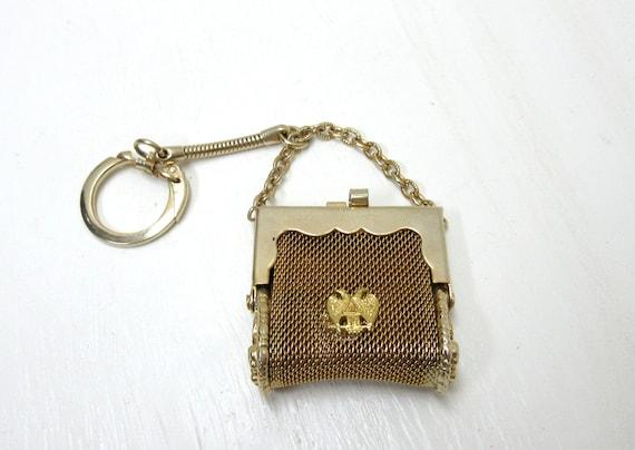 Vintage Key-Chain Purse, Small Gold Tone Metal Mesh Purse Key Chain Key-Ring