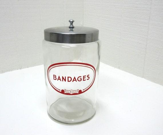 Vintage GLASCO BANDAGES Apothecary Medical Doctors Canister Glass Jar
