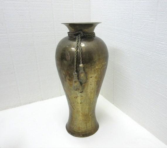 Vintage Large Hammered Brass Vase Made In India