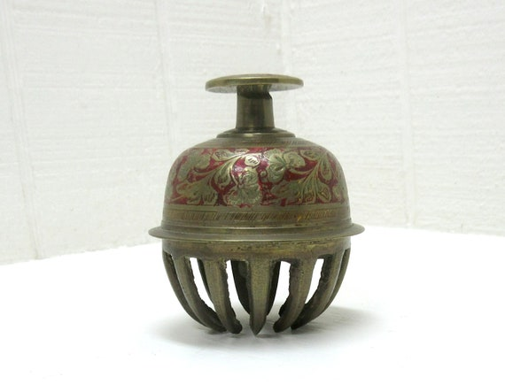 Vintage Tibetan / India Solid Brass Elephant Claw Bell