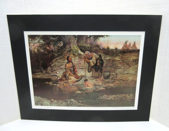 Vintage Print Three Generations Charles Russell Sid Richardson Collection Of Western Art Matted Western Print
