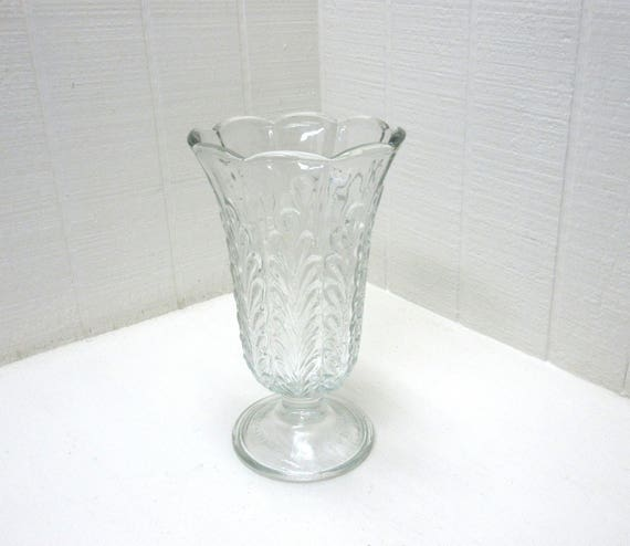 "Vintage E. O. Brody Clear Glass Footed Pedestal Vase M5200 9"" Tall"