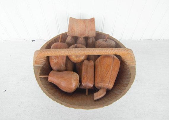 Vintage Wooden Basket Handcarved Wooden Basket / Bowl Fruit Dish Centerpiece