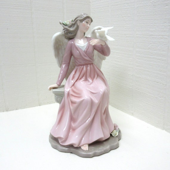 Large O'WELL China Porcelain Pastel Colored Angel Figurine With Dove