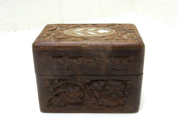Vintage Hand Carved Wooden Trinket Jewelry Box - Floral- Made In India