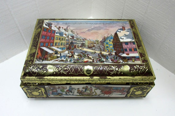 Vintage E Otto Schmidt Tin Advertising Biscuit Box German Hinged Lithograph Biscuit Tin