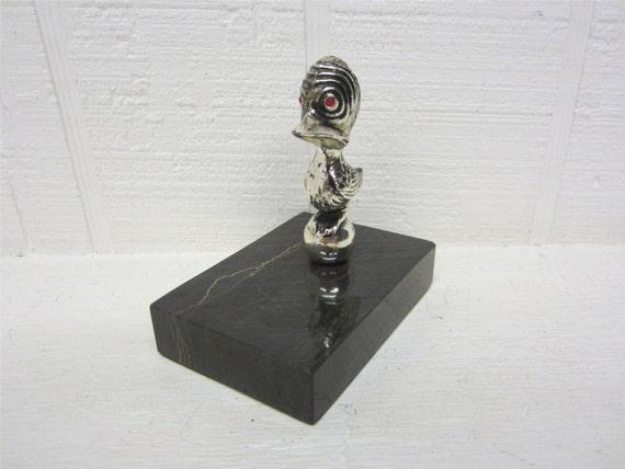 Vintage Bird Figurine On Marble Base Paper Weight