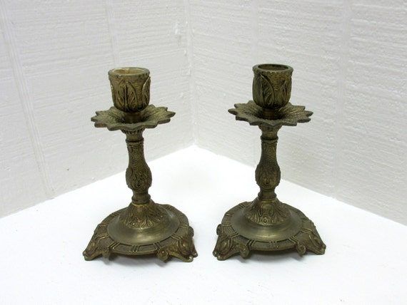 Vintage Candlestick Art Nouveau Solid Brass Set of 2 Made in Spain
