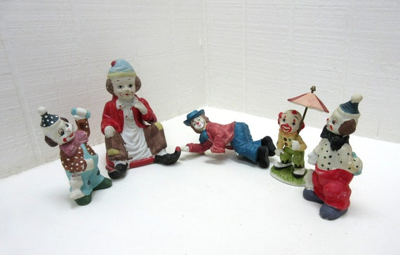 Vintage Ceramic Clown Collection Instant Collection Ceramic Clowns Lot Of 12