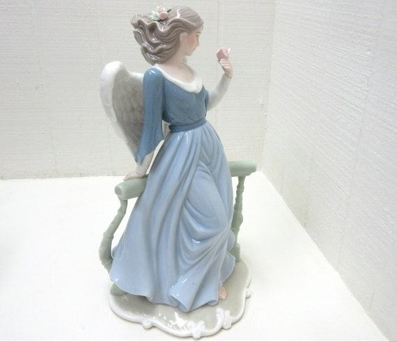 Large O'WELL China Porcelain Pastel Colored Angel Figurine With Rose