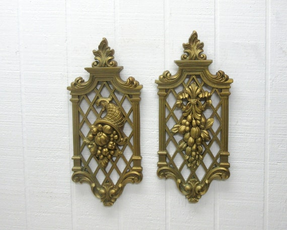 Vintage Dart Syroco Gold Wall Plaques #7214 Cornucopia And #7215 Fruit & Flowers 1971