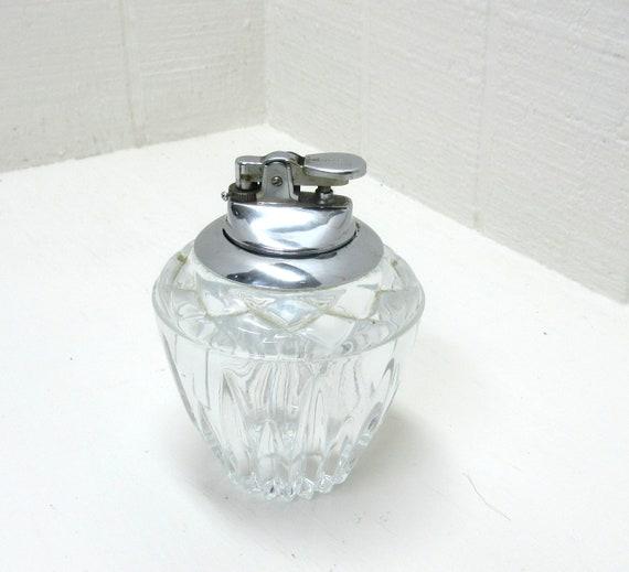 Vintage Crystal Art Deco Table Gas Cigarette Cigar Lighter