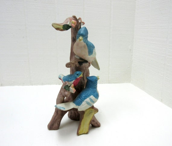 Vintage 3 Ceramic Birds On Tree Trunk Figurine 2 Colorful Blue Jays And 1 Blue Bird