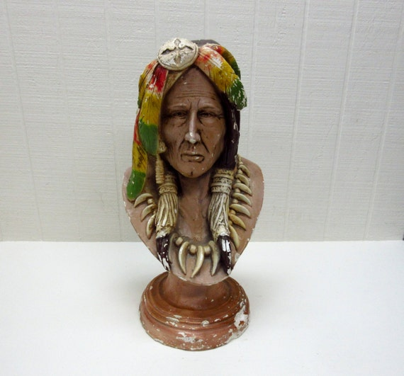 Vintage Carnival Chalkware American Indian Bust