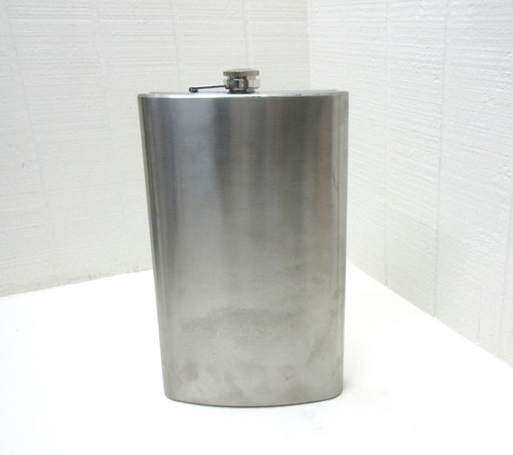 Vintage Hip Flask Stainless Steel 64 OZ