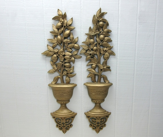 Vintage Homco #7151 And #7152 Lemon Tree 1969 Gold Tone Wall Hanging