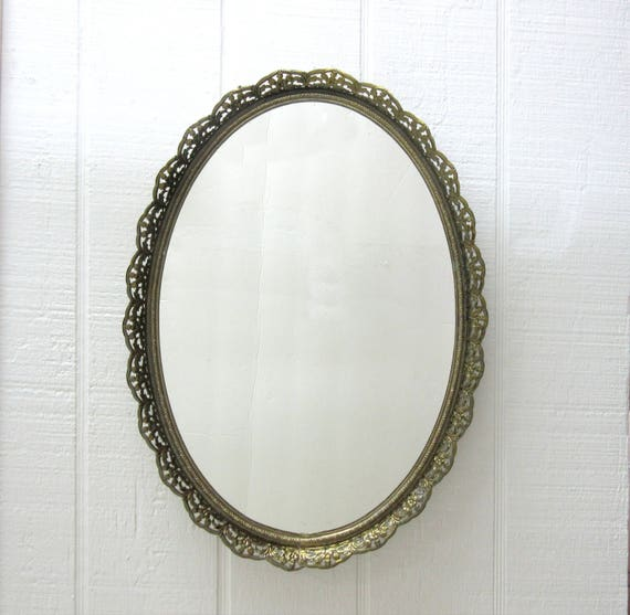 Vintage Vanity Mirror Gold Tone Filigree Oval Dressing Tray Wall Mount Vanity Mirror