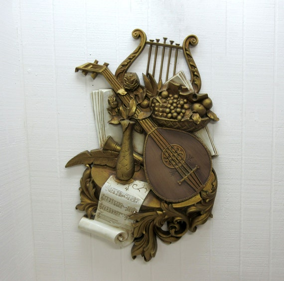 Vintage Wall Hanging Syroco Musical Instrument Gold Color Wall Plaques