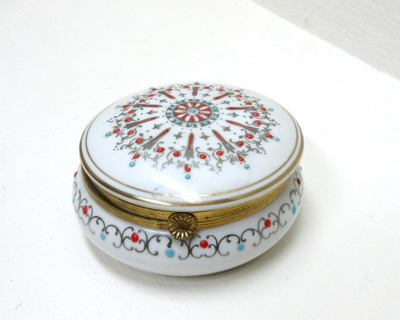 Vintage Arnart Trinket Box Made In Japan 1950's Porcelain Jewelry Box
