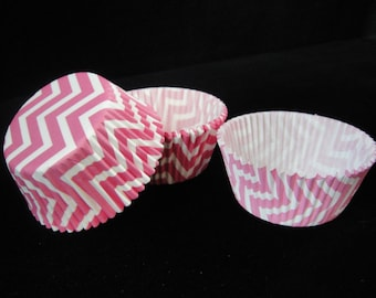 Pink Chevron Cupcake Liners 2, Baking Liners, Muffin Papers, Cupcake Container, Cupcake Wrapper, Chevron Cupcakes, Chevron - Quantity 25
