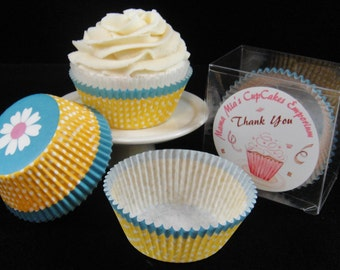 Teal and Yellow Cupcake Liners with a Daisy on the Bottom - Quantity 25