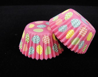 Pink with Easter Eggs Mini Cupcake Liners, Candy Cups, Mini Cupcakes, Candy Cups, Mini Baking Cups - Quantity 25