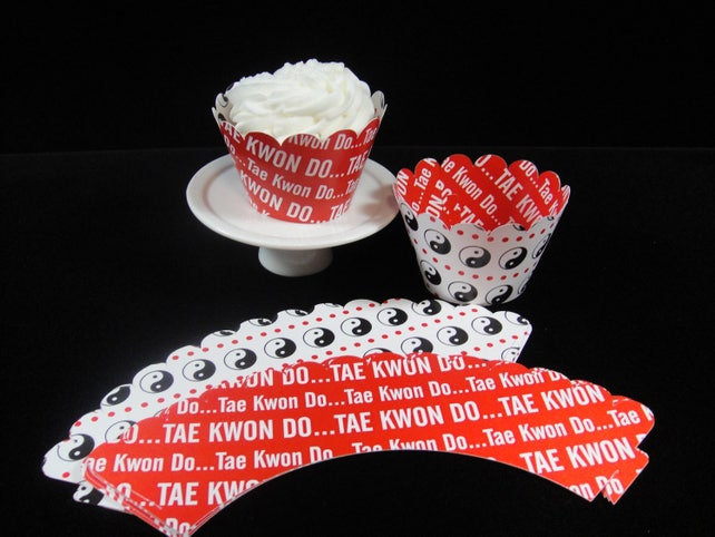 Reversible Tae Kwon Do Cupcake Wrappers, Cupcake Container, Karate Themed Parties, Father's Day, Men's Birthdays, Martial Arts - QTY 12