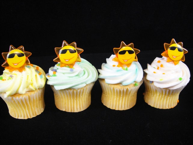 12 Happy Sunshine Cupcake Rings Kids Party Birthday Supplies Toppers Favors Luau Themed