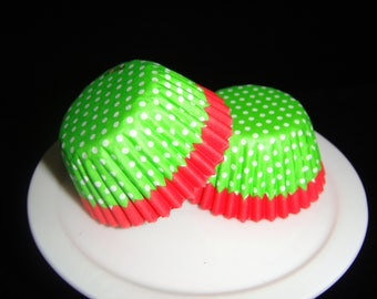 Bright Green Polka Dot Mini Cupcake Liners, Candy Cups, Truffle cups, Candy Papers, Christmas Candies, Mini Baking Cups - Quantity 25