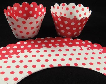 Reverable Red Polka Dot Cupcake Wrappers