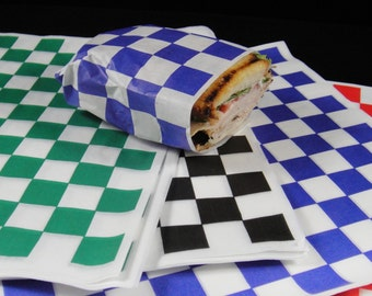 """Premium Grease Resistant Paper Food Wrap, Check Paper Basket Liner, Checkerboard Food Box Liner, Sandwich Wrappers, Food Paper Wrap - 12"""" sq"""