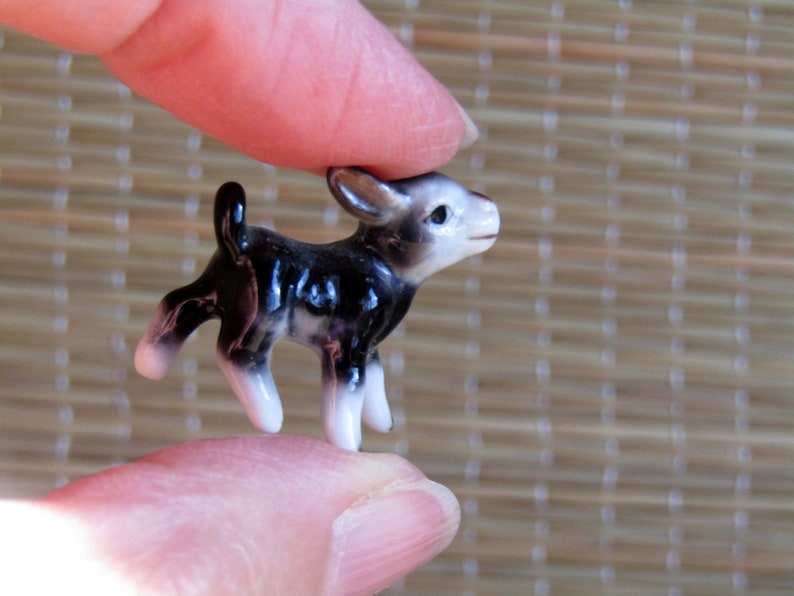 Baby Animal Bone China Figurine Miniature Cow Eensy Weensy Calf Baby Cow