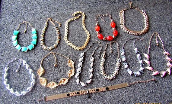 Vintage Necklace Lot, 12 Vintage Necklaces, Choker