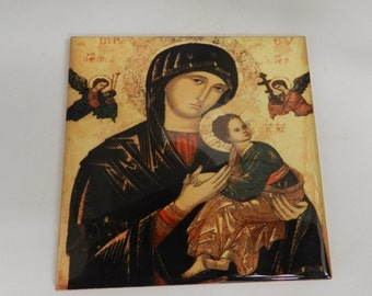 Lady of Perpetual Help Theotokos Orthodox Icon Sublimated Ceramic Tile  Virgin  Mary  Religious Home Decor