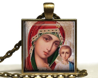 Theotokos Jesus Icon Jewelry Glass Tile Pendant Virgin Mary Pendant Necklace Holy Mother Gift