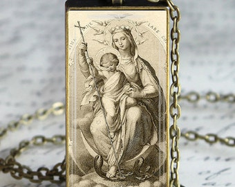 Virgin Mary Necklace  Religious Glass Tile Pendant Necklace Blessed Mother Jesus Christ