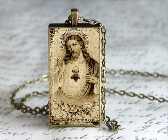 Religious Art Catholic Immaculate Heart of Mary Key chainPurse Charm or Necklace Religious Gift Glass Tile Pendant