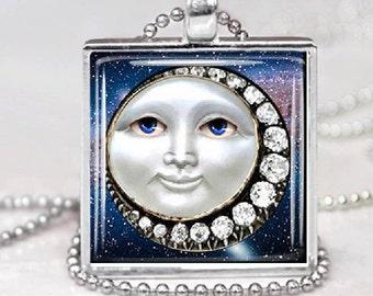 Sun Moon Celestial Necklace  Glass Tile  Celestial Pendant